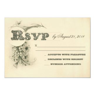 vintage antique style wedding rsvp design card