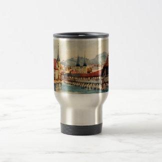 Vintage Antique Switzerland Lucerne Chapel Bridge 15 Oz Stainless Steel Travel Mug