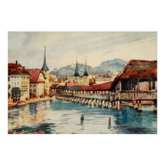 Vintage Antique Switzerland Lucerne Chapel Bridge Poster