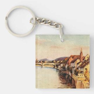Vintage Antique Switzerland Rhine River Basel Single-Sided Square Acrylic Keychain