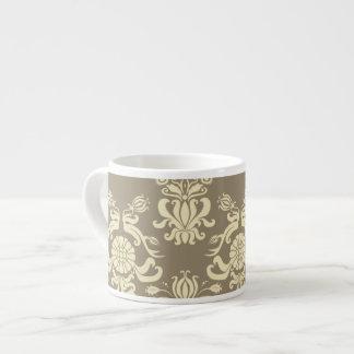 Vintage Antique Tan and Cream Damask Espresso Cups