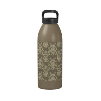 Vintage Antique Tan and Cream Damask Water Bottles