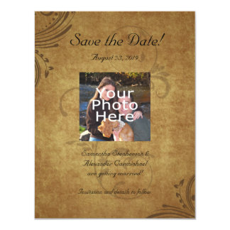 Vintage Antique Teastain Swirl Save the Date Photo Card