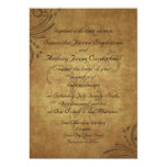 "Vintage Antique Teastain Swirl Wedding 5"" X 7"" Invitation Card"