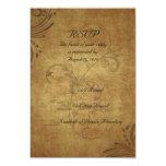 Vintage Antique Teastain Swirl Wedding Small RSVP 3.5x5 Paper Invitation Card