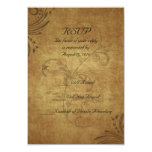 "Vintage Antique Teastain Swirl Wedding Small RSVP 3.5"" X 5"" Invitation Card"
