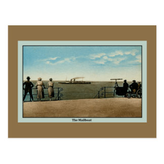 Vintage antique The Mailboat on the North Sea Postcard