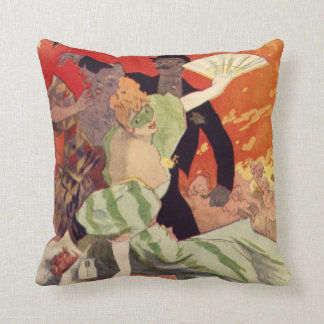 Vintage Antique Theatre Opera Carnaval Throw Pillow
