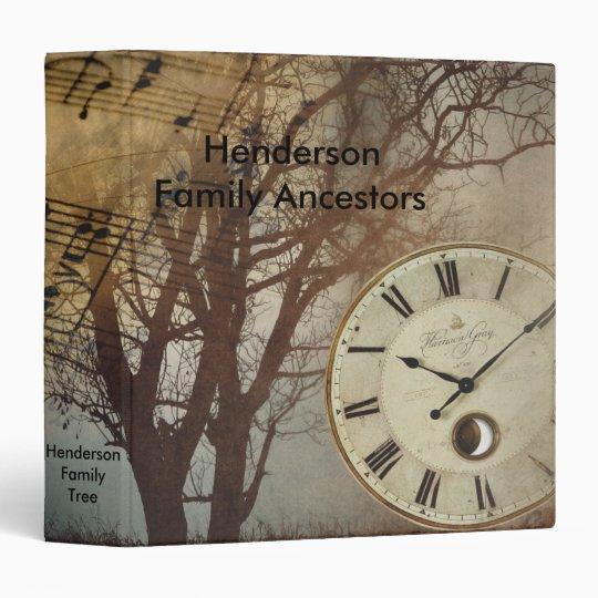 Vintage Antique Time Clock Family Tree Album 3 Ring Binder