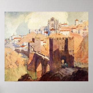Vintage Antique Toledo Landscape Watercolor Poster