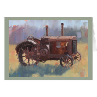 Vintage Antique Tractor Painting Father's Day Card