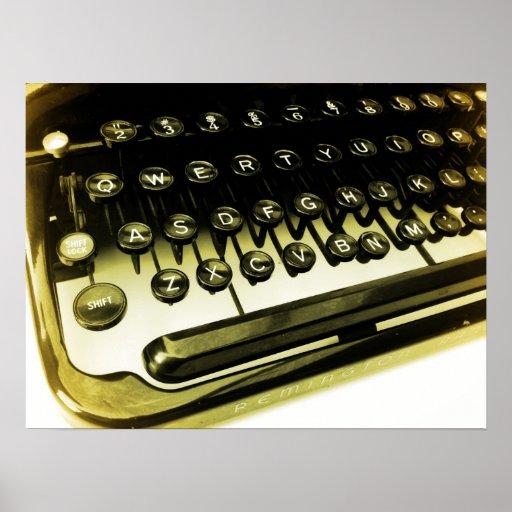 Vintage Antique Typewriter Keys Poster