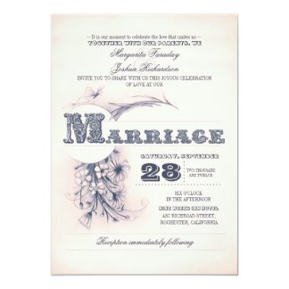 vintage antique typography wedding invitations