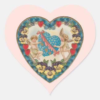 Vintage Antique Valentine's Day, Angels in a Heart Heart Sticker