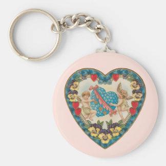 Vintage Antique Valentine's Day, Angels in a Heart Keychain