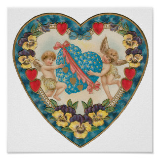 Vintage Antique Valentine's Day, Angels in a Heart Poster