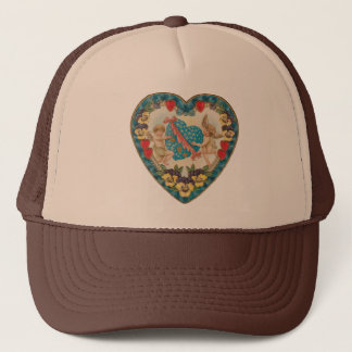 Vintage Antique Valentine's Day, Angels in a Heart Trucker Hat