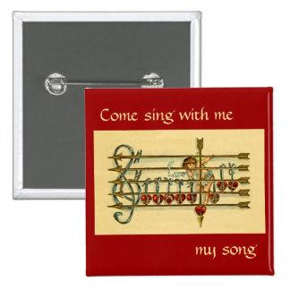 Vintage Antique Valentine's Day Music Pin