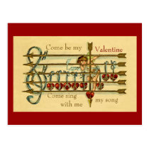 Vintage Antique Valentine's Day Musical Postcard