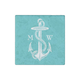Vintage Antique White Anchor Turquoise Background Stone Magnet
