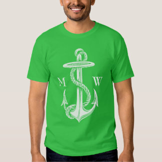 Vintage Antique White Anchor Turquoise Background Tee Shirt