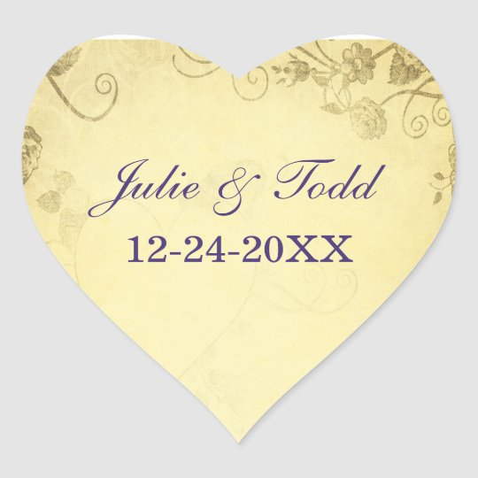 Vintage Antique With Bow Wedding Heart Sticker