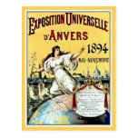 Vintage antique world expo Antwerp 1894 Post Card