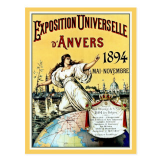 Vintage antique world expo Antwerp 1894 Post Card