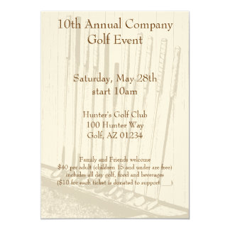 Vintage Antique Yellow & Brown Golf Clubs Invitation