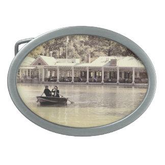 Vintage Antiqued Rowboat Photo of Central Park Oval Belt Buckles