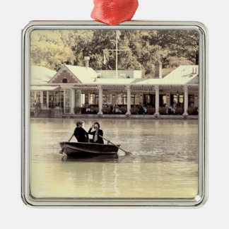 Vintage Antiqued Rowboat Photo of Central Park Square Metal Christmas Ornament