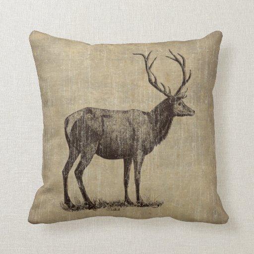 Antler Throw Pillow : Vintage Antler Throw Pillow Zazzle