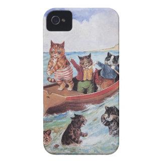 Vintage antropomorfo divertido Wain de los gatos iPhone 4 Protector