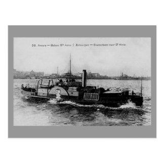 Vintage Antwerp steamer ferry riverboat Scheldt Postcard