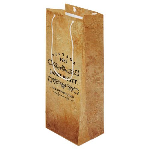 Vintage Any Age Birthday Wine Gift Bag