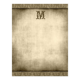Vintage Any Initial Damask Border Letterhead