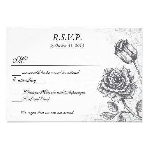 Vintage apenado RSVP subió tatuaje del Victorian Invitacion Personalizada