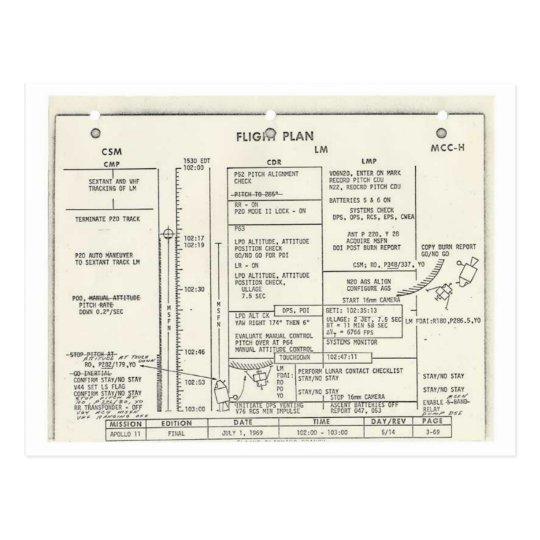 Vintage Apollo 11 Flight Plan Postcard