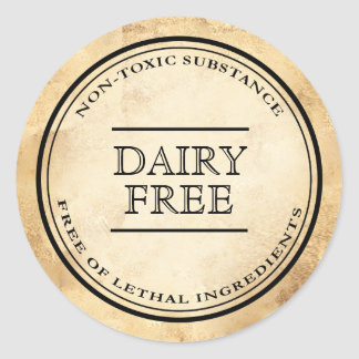Vintage apothecary dairy free diet label