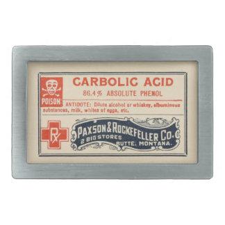 Vintage Apothecary Label Carbolic Acid Belt Buckle