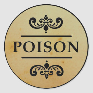 Vintage Apothecary Poison Halloween Stickers Label
