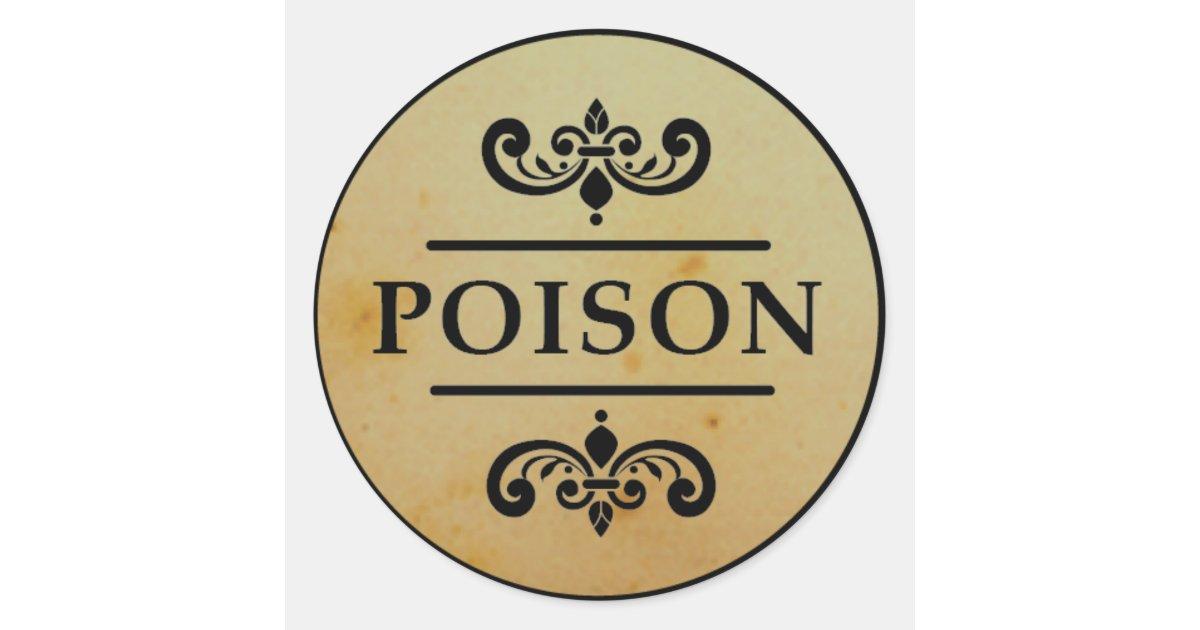 Vintage Apothecary Poison Halloween Stickers Label | Zazzle
