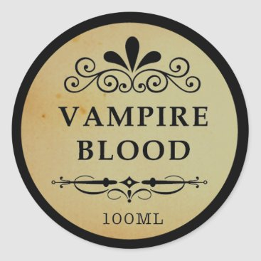 Halloween Themed Vintage Apothecary Vampire Blood Halloween Sticker