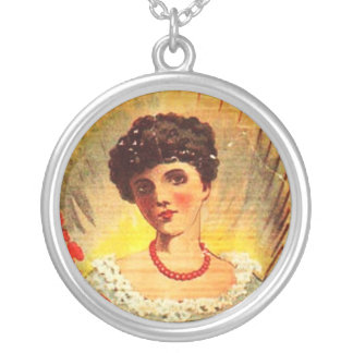Vintage Apothecary Woman Round Pendant Necklace
