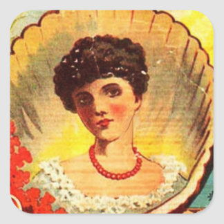 Vintage Apothecary Woman Square Sticker