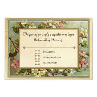 Vintage Apple Blossom, Tea Stained Typography 3.5x5 Paper Invitation Card