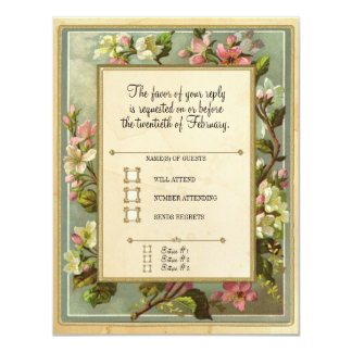 Vintage Apple Blossom, Tea Stained Typography 4.25x5.5 Paper Invitation Card