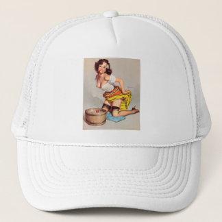 Vintage Apple Bobbing Gil Elvgren Pin Up Girl Trucker Hat