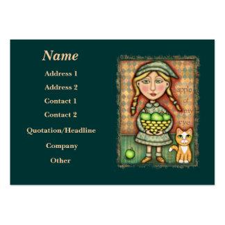Vintage Apple Girl & Cat Art Business Card
