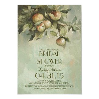 Vintage apple tree bridal shower invitations